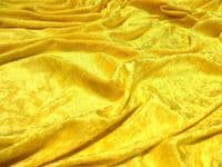 Crushed Velvet Velour Fabric Material - CANARY YELLOW